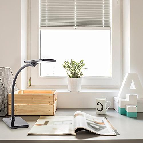 Newhouse Lighting LED Desk Lamp USB Charger, Dimming Office Use, Black