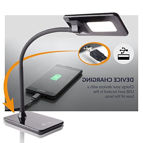Newhouse NHDK-ZL-BK LED Desk Lamp USB Touch and Color Change Office Use,