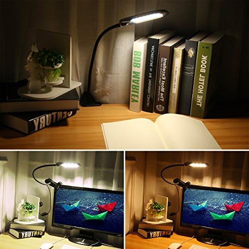 LED Dimmable Clamp Table with Gooseneck, Brightness & 3 Color, T33, Black