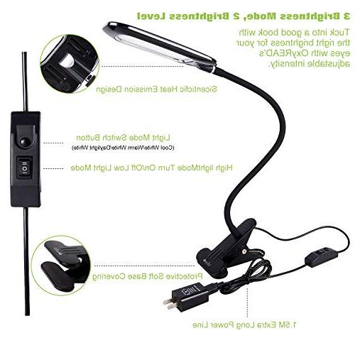LED Dimmable Eye-Caring Desk Clamp Table Gooseneck, & 3 Color, T33, Black