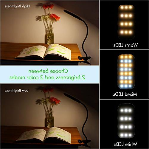 LED Lamp, OxyLED Dimmable Eye-Caring Light, Clamp Desk Table Flexible Gooseneck, & Color, T33,