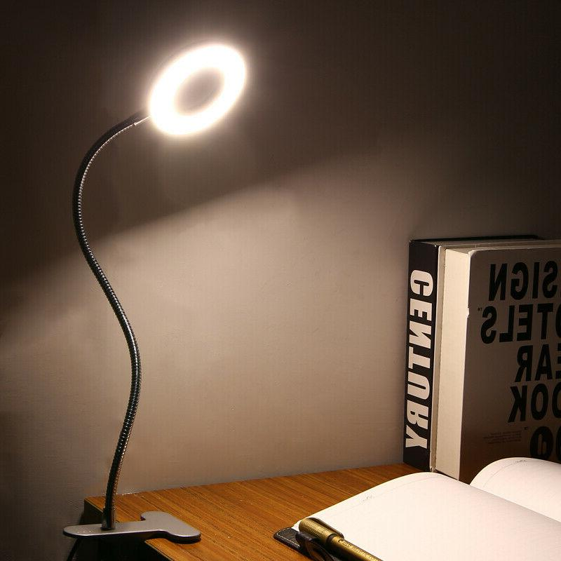 Portable LED Ring Clip Bed Table Lamp Night