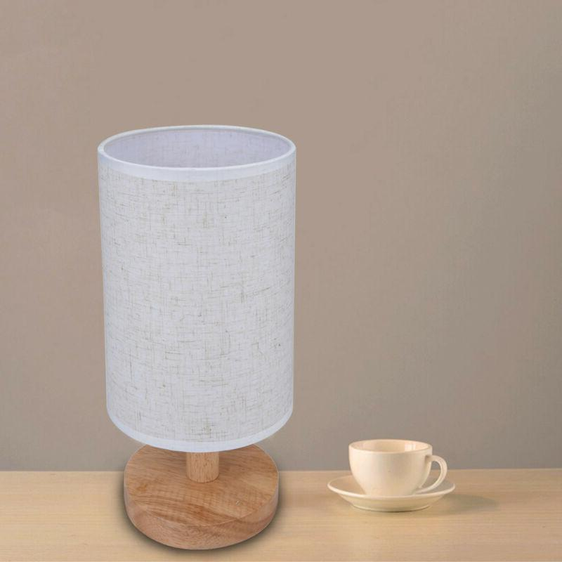 Round Fabric Shade Wood Table Light Care DecoratIon