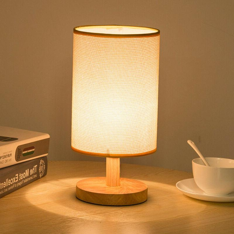 round fabric shade wood table desk lamp