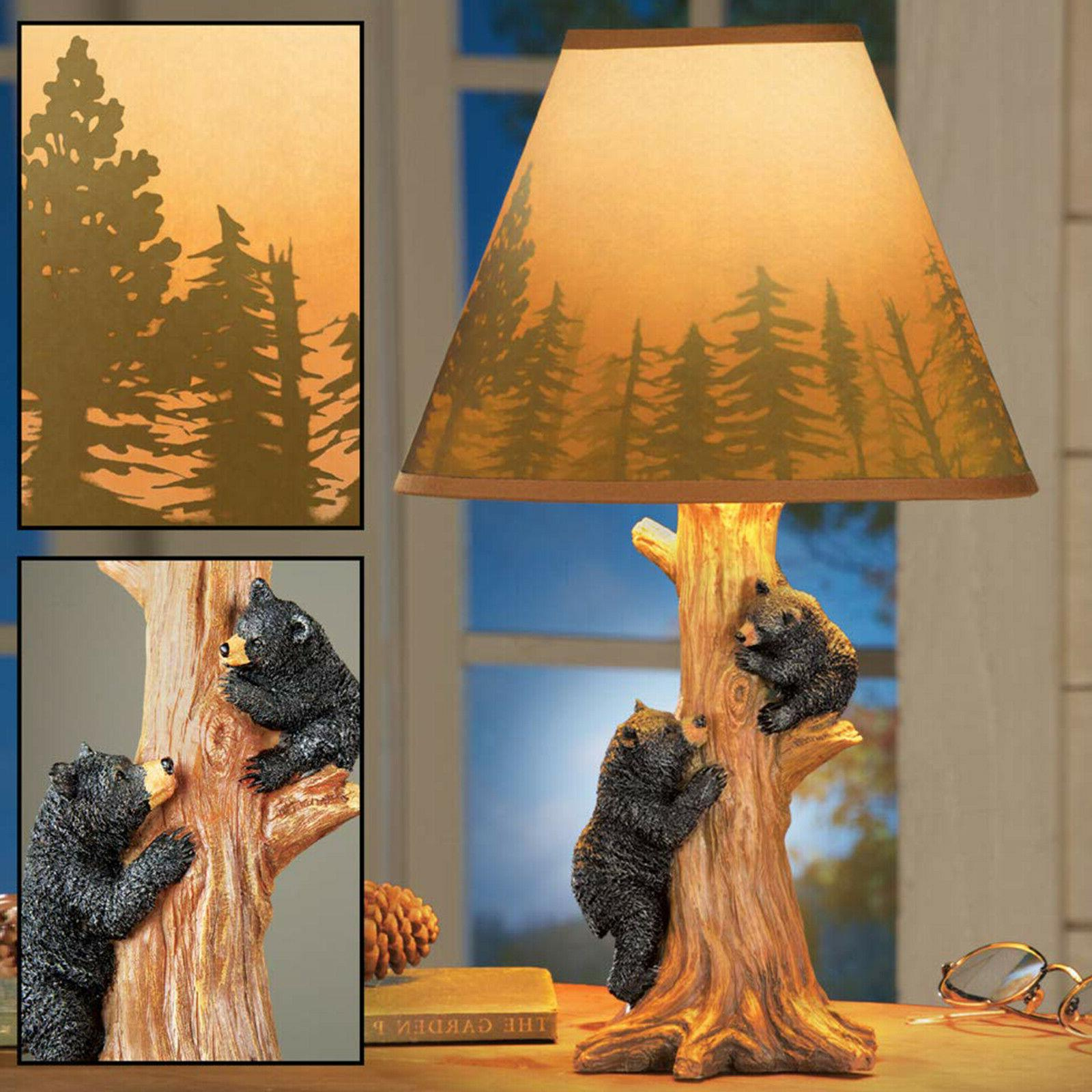 Rustic Lamp Shade Side Table Hunting Contemporary