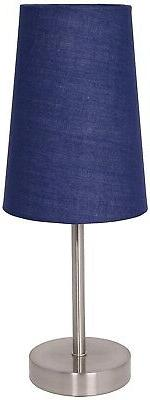 satin steel finish table lamp with fabric