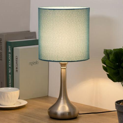 Set of Table Modern Design Line Fabric Metal Lamp Base
