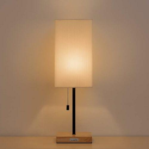 HAITRAL Bedside Table Lamp Square Lamp Wooden Base Shade Sim