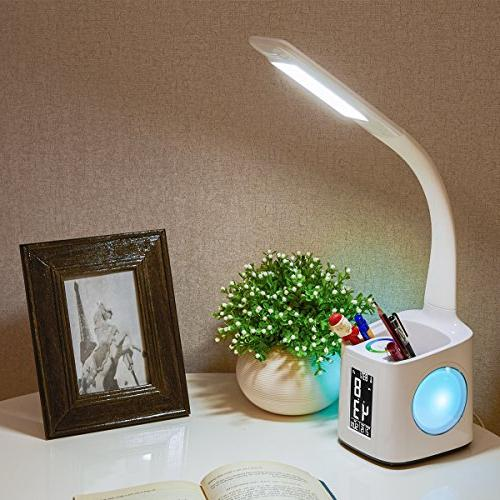 Wanjiaone study lamp with usb port&screen&calendar&color night light, dimmable led table with pen clock, desk reading light students,10W
