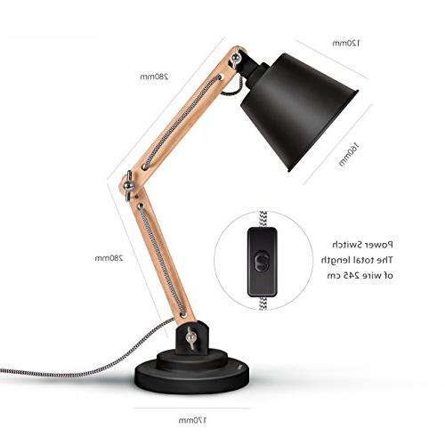 Tomons Desk Wood Table Lamp, Reading Lights 4W Bulb Room and