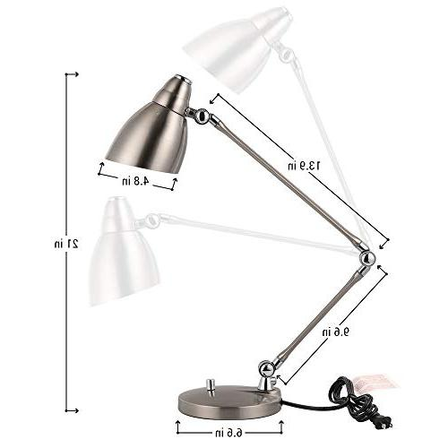 HAITRAL Desk Modern Lamp with Multi-Joint Flexible Adjustable Arm, Reading for Office,