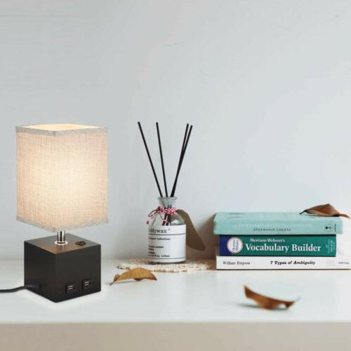 Table Desk Lamp Grey Fabric Bedside Nightstand Lamp with 2 U