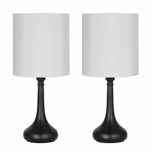 2 pcs HAITRAL Table Lamp Bedside Desk Lamp with Fabric Lamp