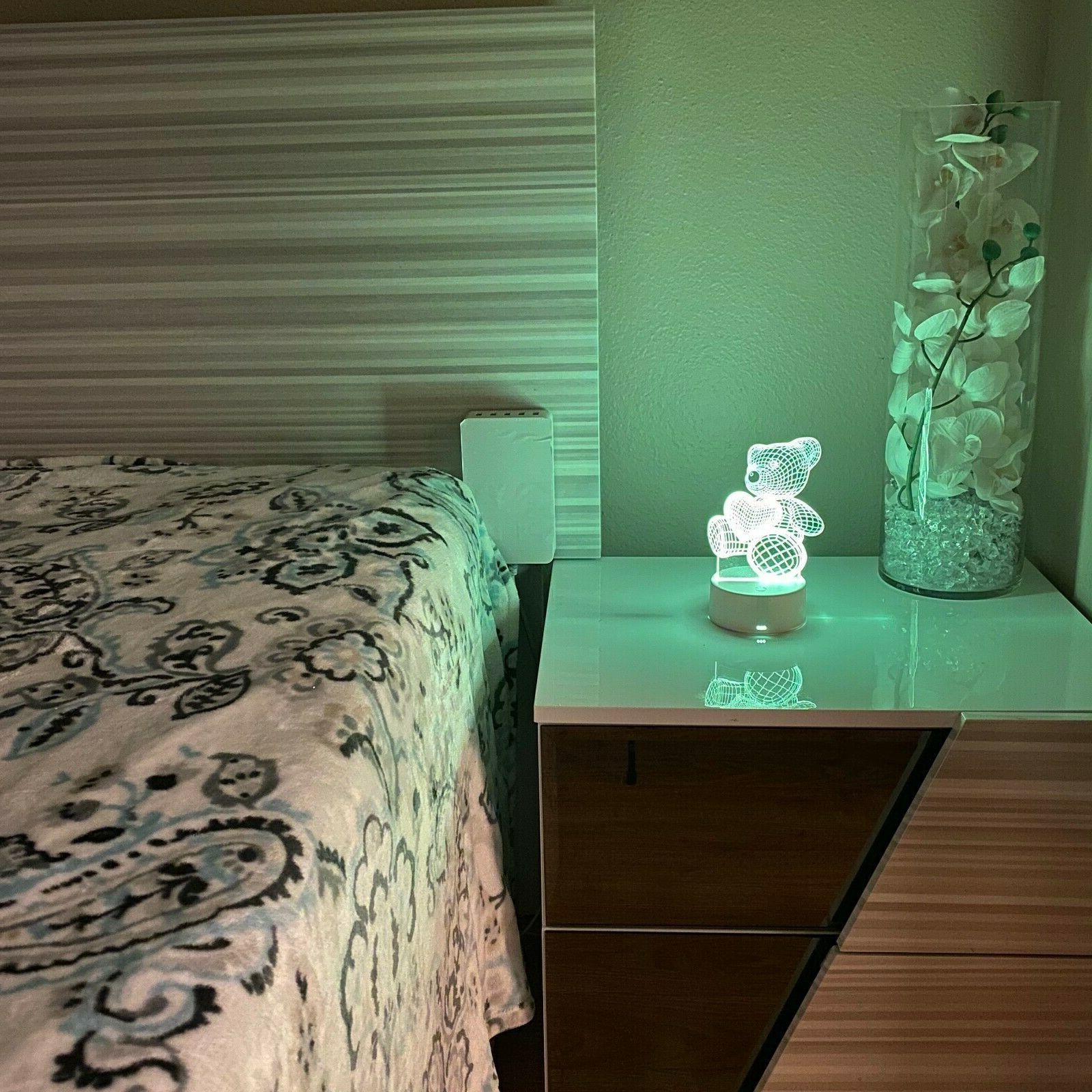 Teddy illusion Visual Night Light 7 LED Table Bedroom