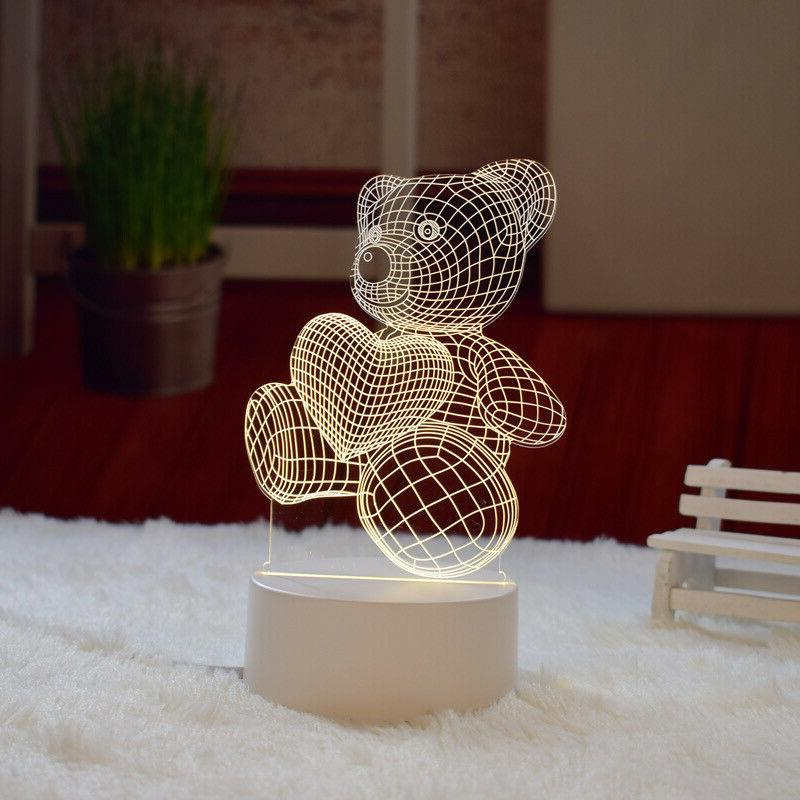 Teddy 3D illusion Visual Night LED Desk Table Bedroom Decor