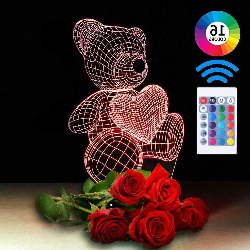 teddy bear 3d illusion visual night light
