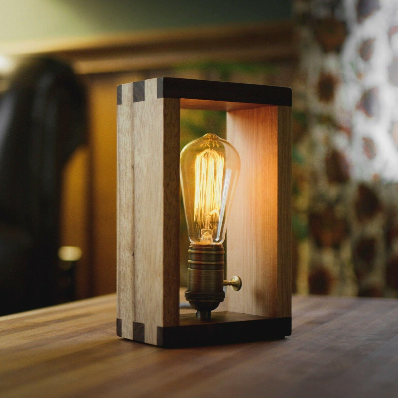 The Alto Wood Dimmable Shadow Box Accent Desk Lamp by