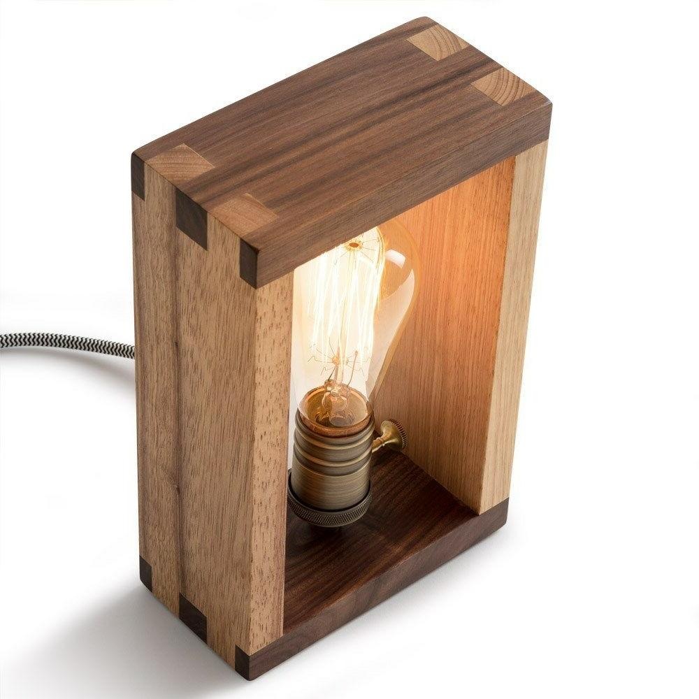 The Alto Lamp: Solid Wood Shadow Box Accent Desk Freeform Made