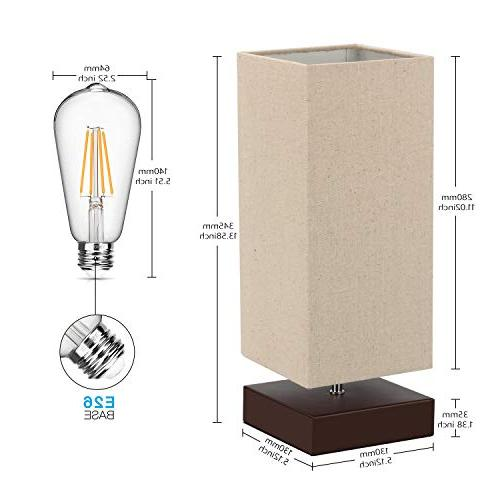 Touch Lamp Bedside 3 Touch Nightstand Lamp with Square Fabric Shade Simple Night for Living Room Bulb Included