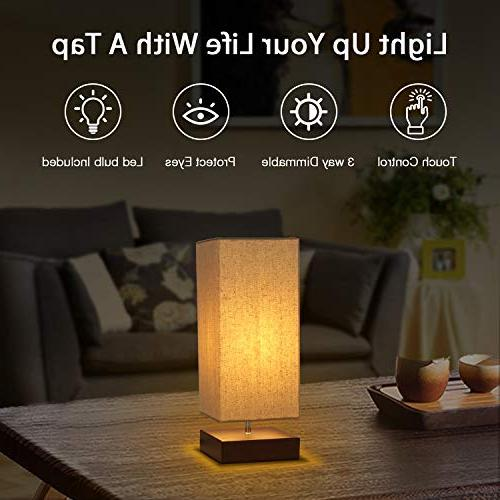 Touch Table Bedside 3 Way Dimmable Touch Modern Nightstand Fabric Night Light Bedroom Living Room Office, Bulb Included