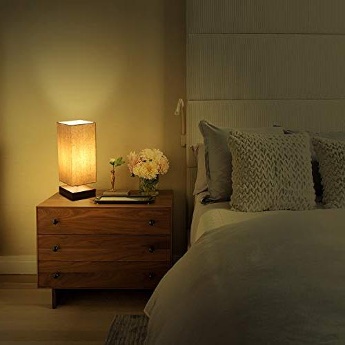 Touch Control Bedside 3 Way Dimmable Touch Lamp Nightstand Lamp with Fabric Night Light Living Room Office, Bulb Included