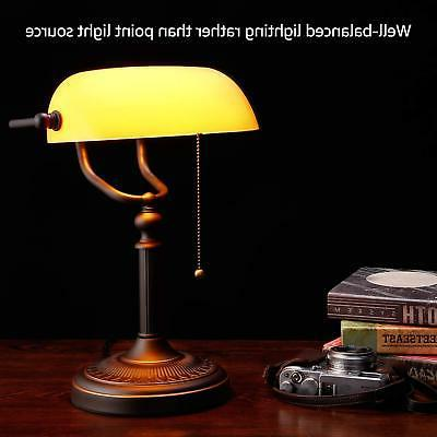 Traditional Banker's Lamp,Antique Style Matte Amber Glass