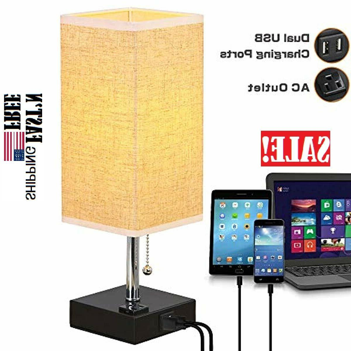 Table Lamp with Outlet, Decent Dual USB Charging Bedside Lam