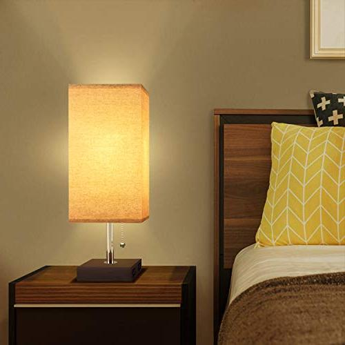 USB Lamp, Acaxin Lamp with Dual Charge Port, Wood Black Charger Base with Unique Shade, for Bedroom, Baby