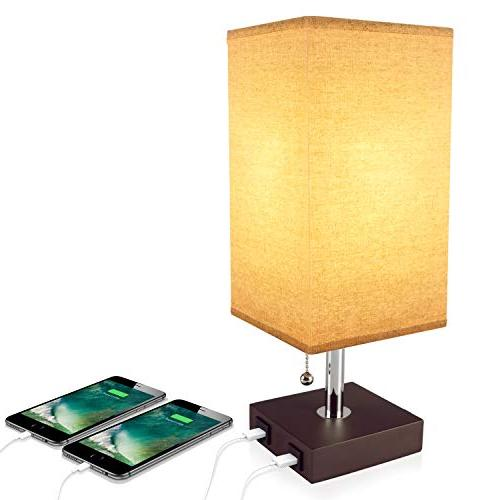 USB Table Desk Lamp, Acaxin Bedside Lamp with Dual USB Quick