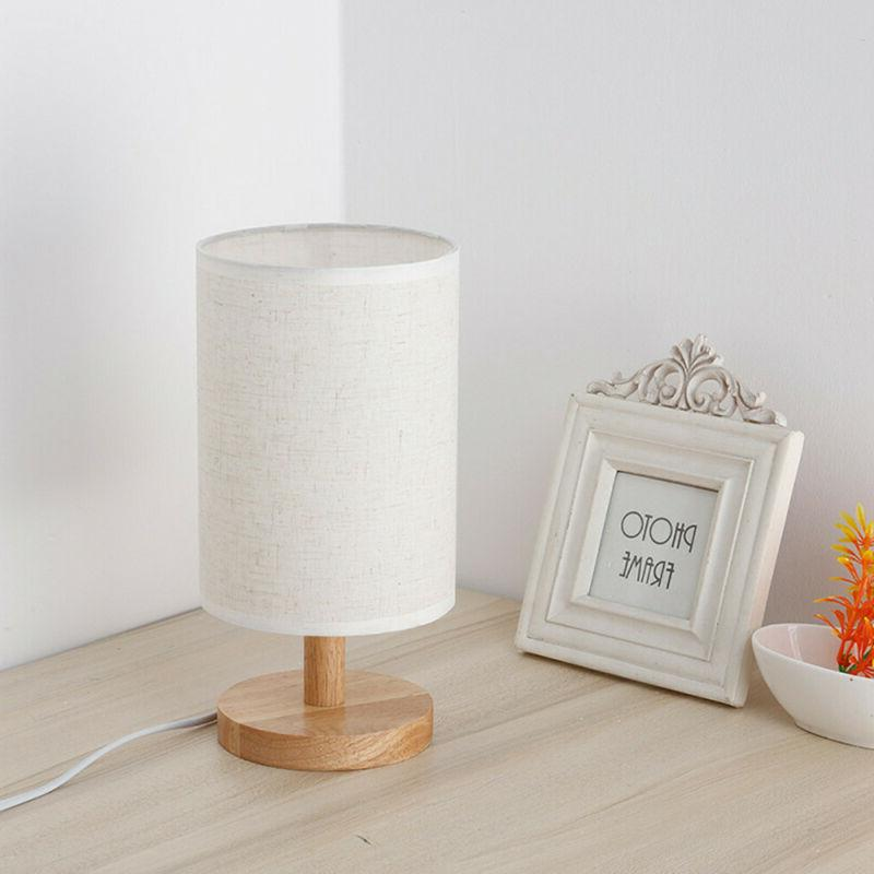 Wood Lamp Bedside Desk Lamp Flaxen Fabric for Bedroom