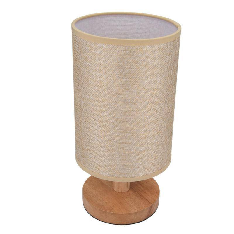 Wood Table Lamp Desk Lamp With Round Flaxen Bedroom