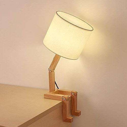 HAITRAL Swing Lamp - Creative Table Lamp Natural Bedside Nightstand Bedroom, Office, Kids Room