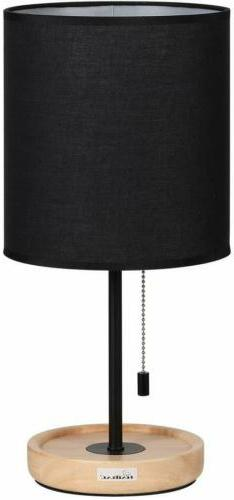 HAITRAL Wooden Table Lamps Black with