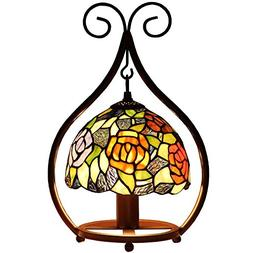 Bieye L10529 16 inch Rose Tiffany Style Stained Glass Hangin