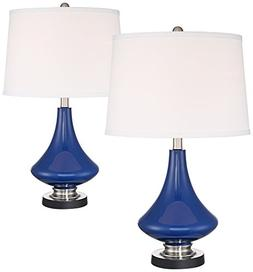 Lapis Blue Glass Accent Table Lamp with USB Port Set of 2