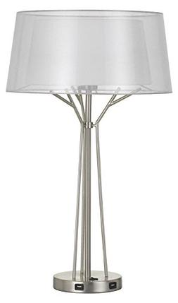 100W Lawton Metal Desk Lamp with Translucent Shade and 2 USB