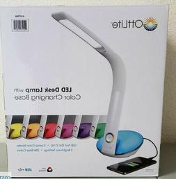 OttLite LED Desk Lamp with Color Changing Base USB Port 490