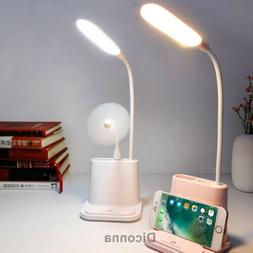 LED Desk Lamp with Pencil Holder USB Charging Port Dimmable