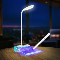 LED Desk Table Reading Lamp Light + Message Board USB Rechar