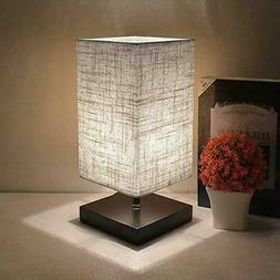 LED Modern Wood Table Nightstand Lamp Square Fabric Bedside