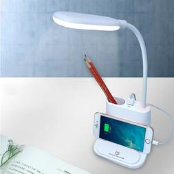 LED Night Lights Eye-Caring Table Desk Lamp with USB Chargin