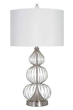 "Catalina Lighting Leilani 32"" Brushed Nickel and Metal Wire"