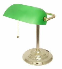 LightAccents Adjustable Metal Bankers Desk Lamp with Glass S