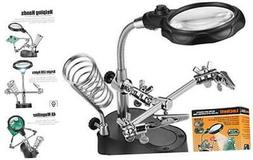 Led Light Magnifier & Desk Lamp Helping Hand with Magnifying