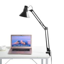 Long Arm Desk Lamp Work Reading Folding Clip-on LED Table Li