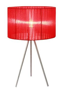 Simple Designs Home LT2006-RED Brushed Nickel Tripod Table L