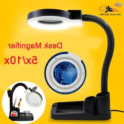 Magnifying Crafts Glass Desk Lamp 5X 10X Magnifier With 40 L