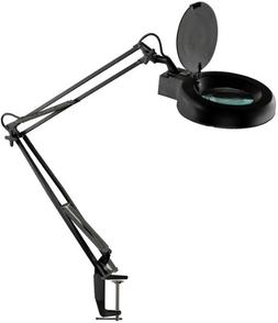 """SE MC329B-F2X 5"""" Illuminated Magnifier Table Lamp with Table"""