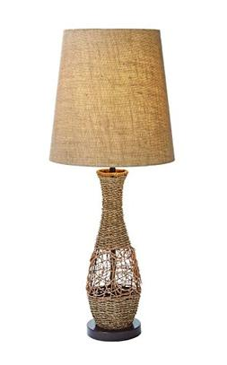Plutus Brands Metal and Rattan Table Lamp with Sturdy and Du