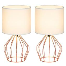 Set of 2 Bedside Table Lamps Pink Line Fabric Lampshade Pink